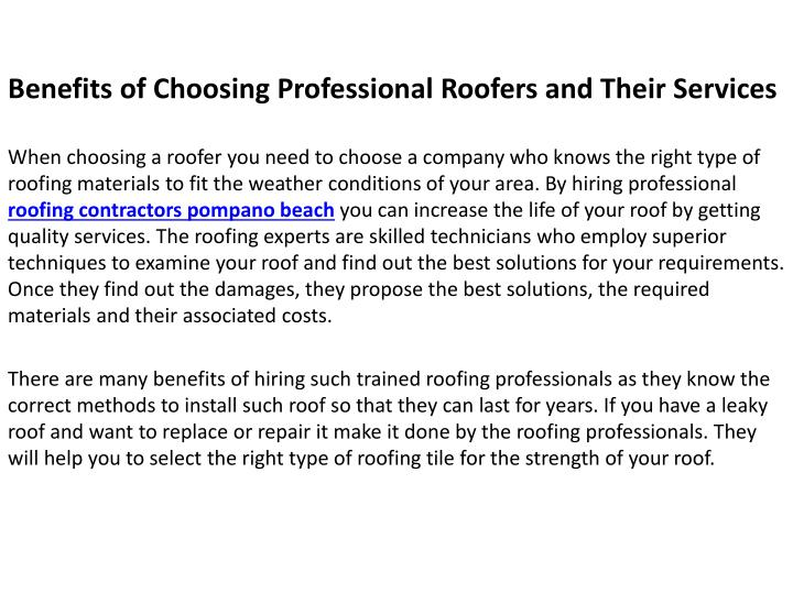 benefits of choosing professional roofers n.