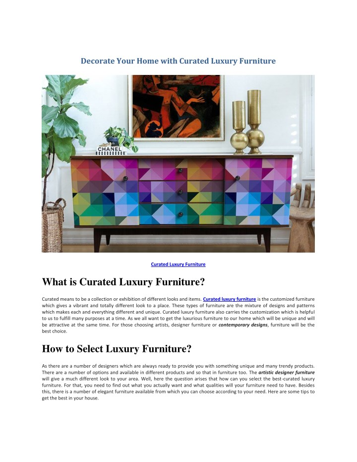 decorate your home with curated luxury furniture n.