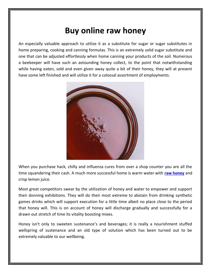 PPT - Buy online raw honey PowerPoint Presentation - ID:7737919