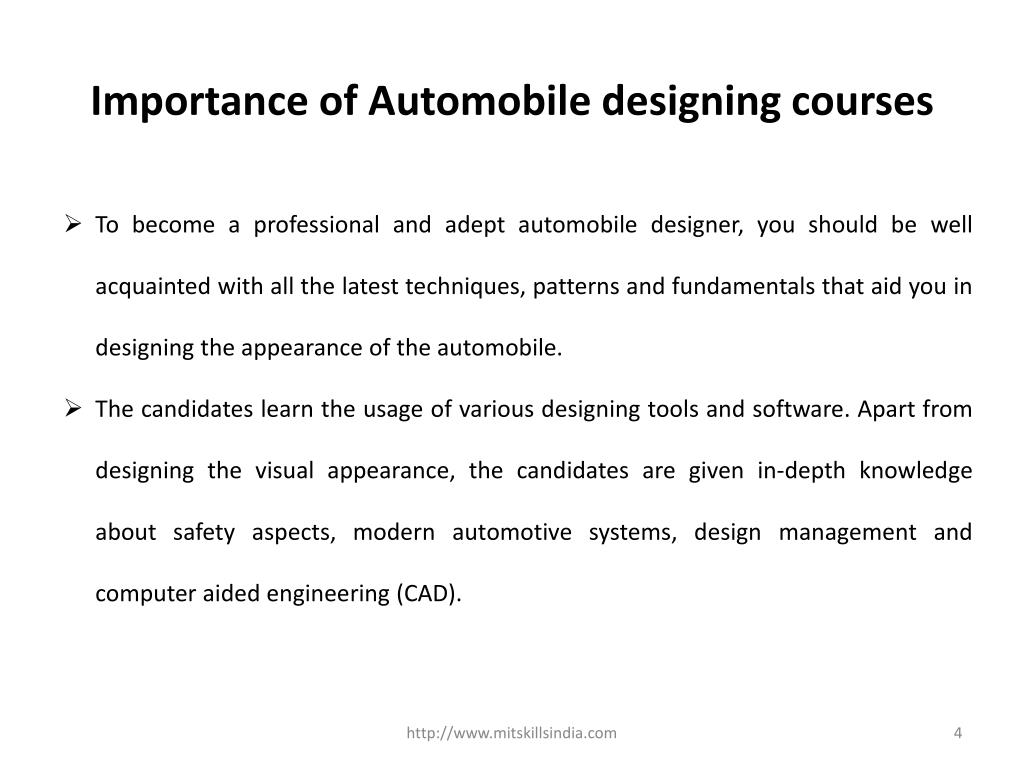 PPT - Post Graduate courses in automotive and styling and