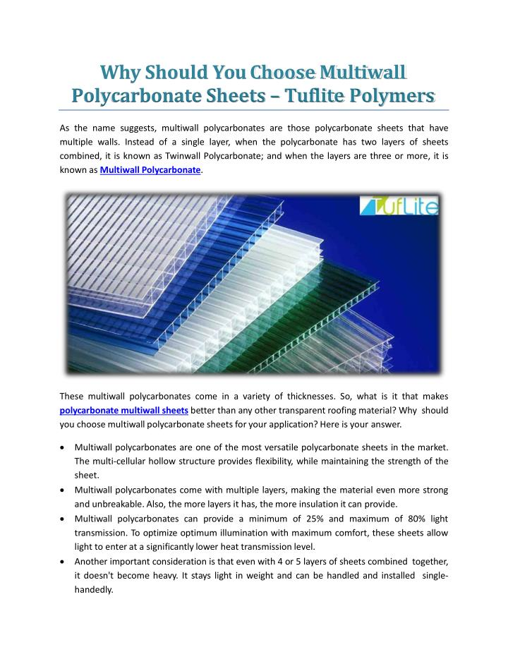 why should you choose multiwall polycarbonate sheets tuflite polymers n.