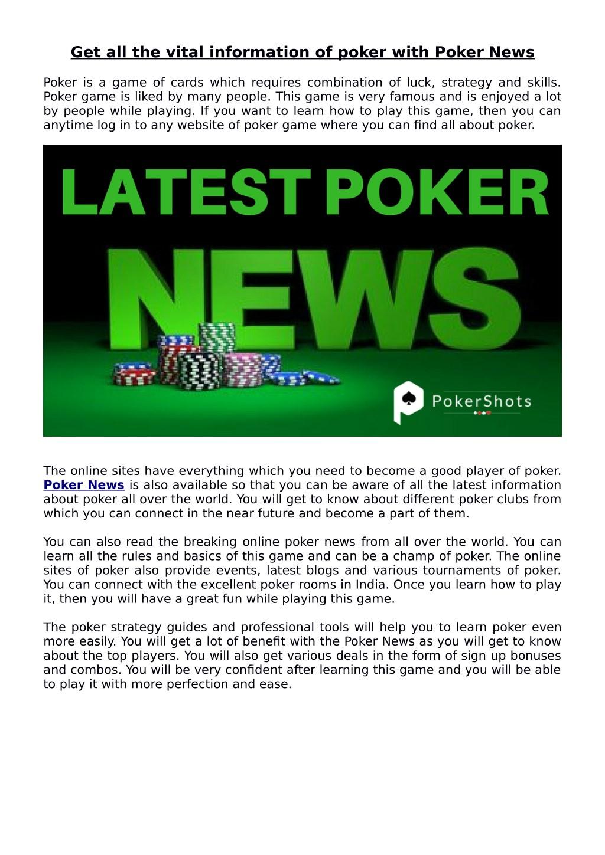 World poker deals