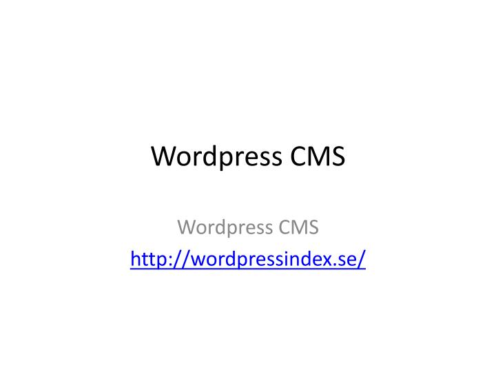 wordpress cms n.