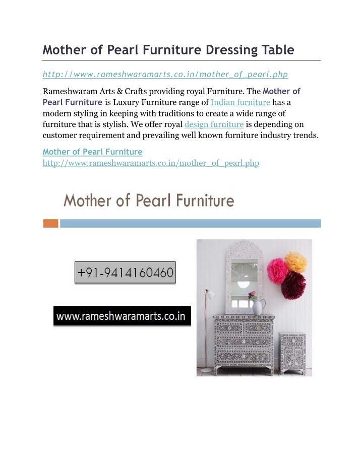 mother of pearl furniture dressing table n.