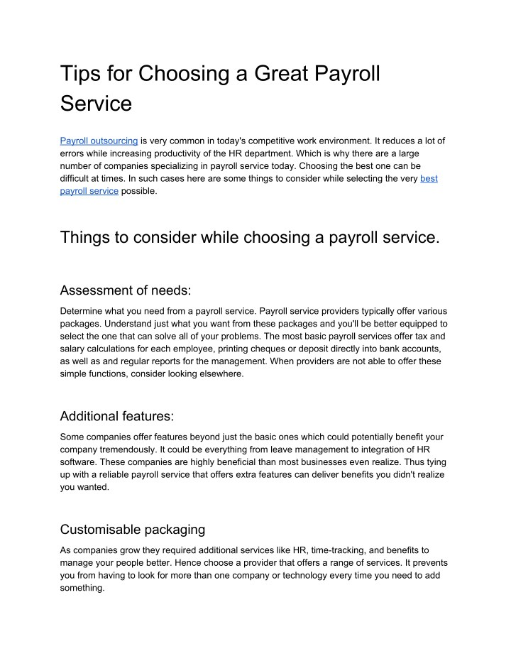 tips for choosing a great payroll service n.