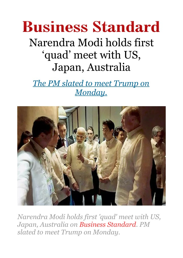 narendra modi holds first quad meet with us japan n.