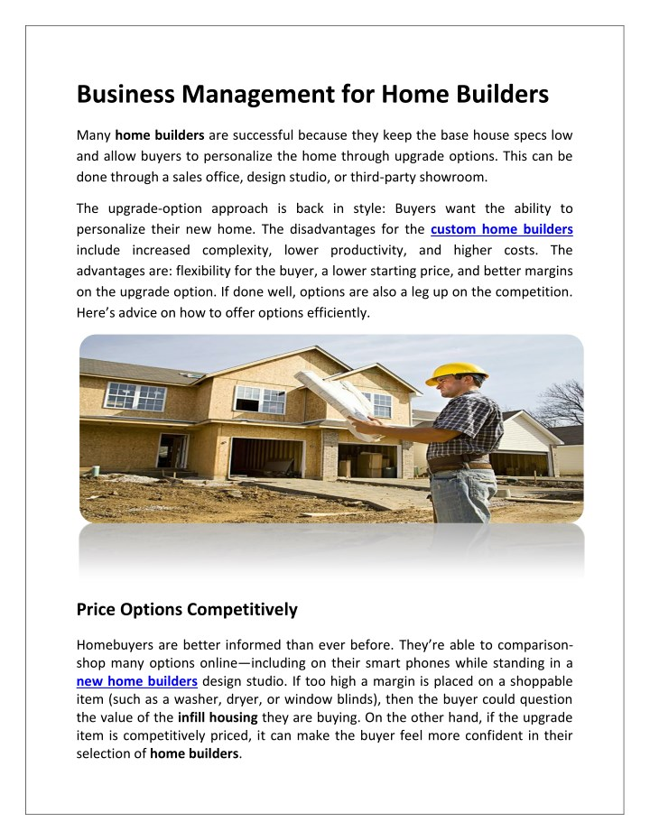 business management for home builders n.