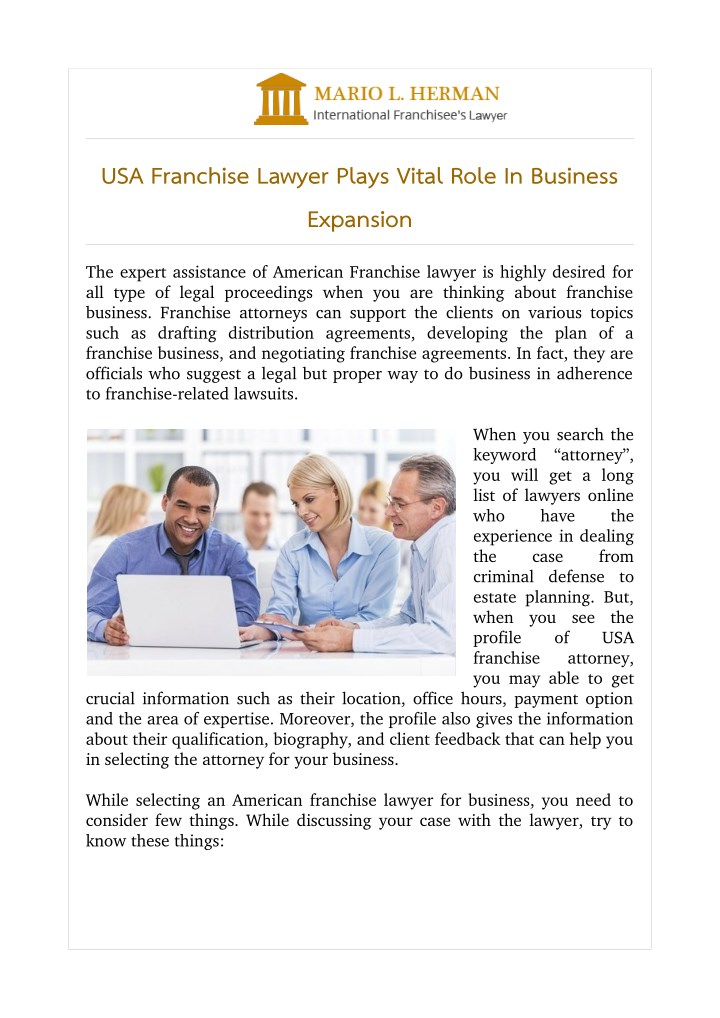 usa franchise lawyer plays vital role in business n.