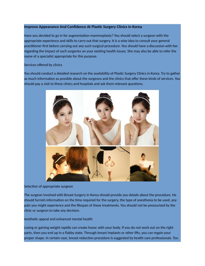 improve appearance and confidence at plastic n.