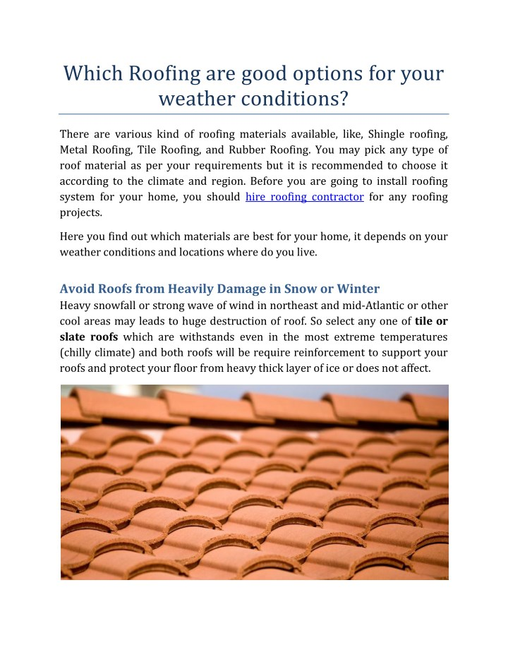which roofing are good options for your weather n.