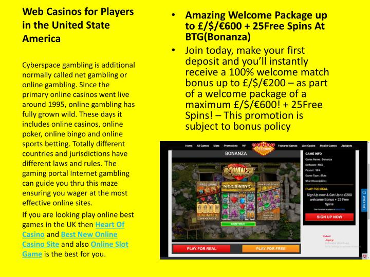 web casinos for players in the united state america n.