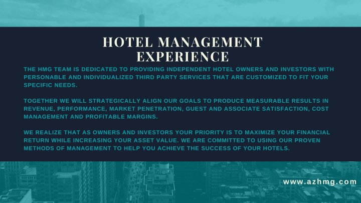 hotel management experience n.