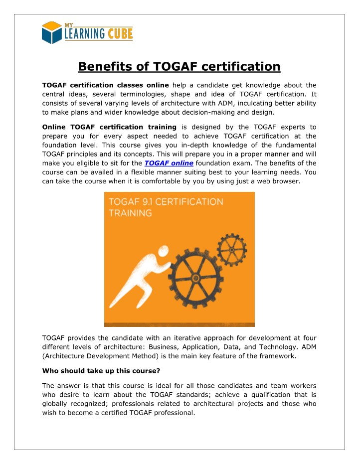 Ppt Togaf Training And Certification Powerpoint Presentation Id