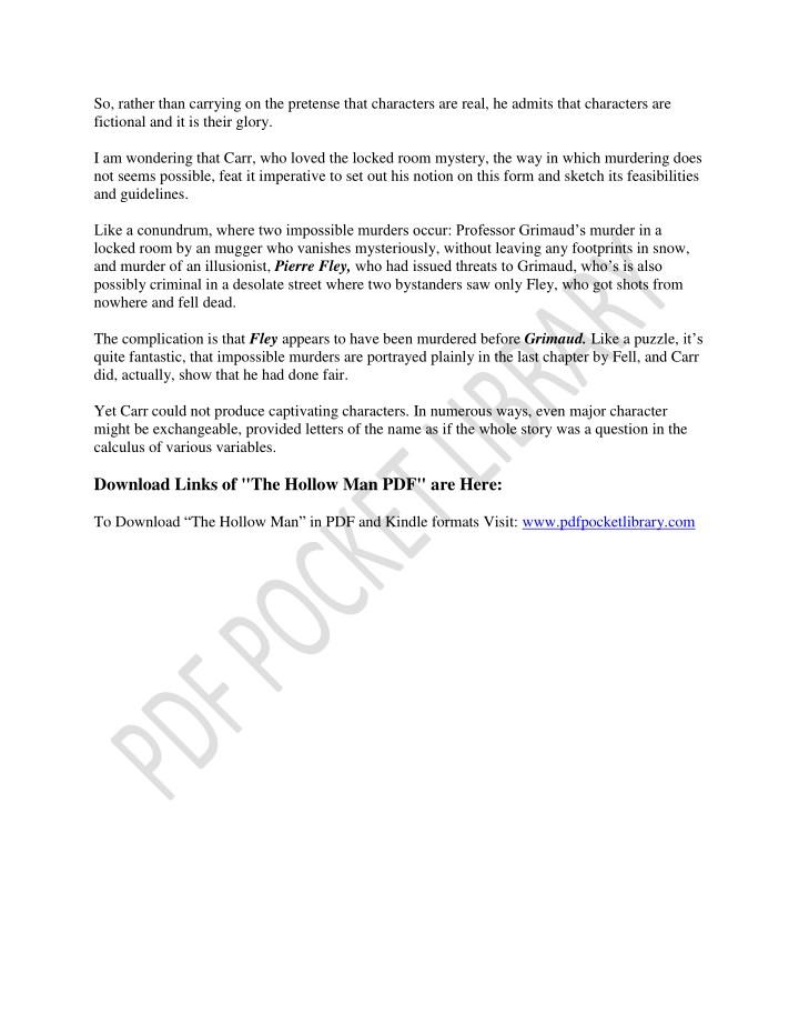 the hollow man summary pdf