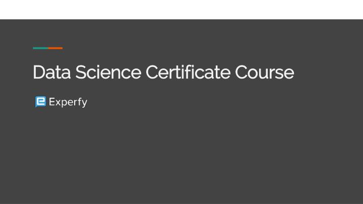 data science certificate course n.