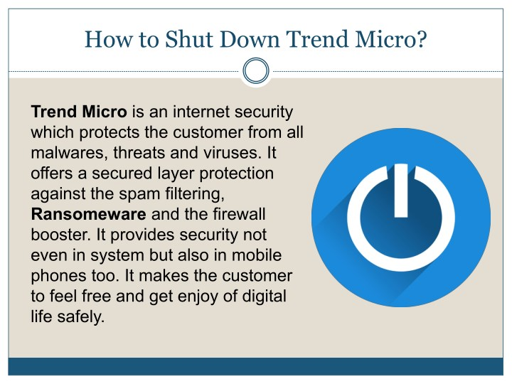 how to shut down trend micro n.