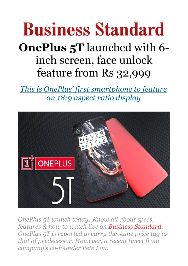 oneplus 5t launched with 6 inch screen face n.