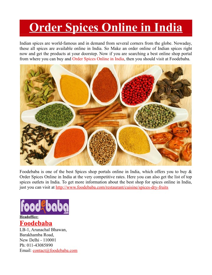 PPT - Order Spices Online in India PowerPoint Presentation