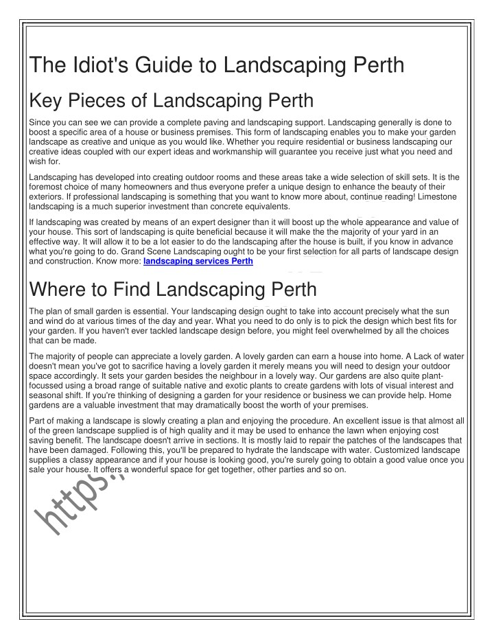 the idiot s guide to landscaping perth n.
