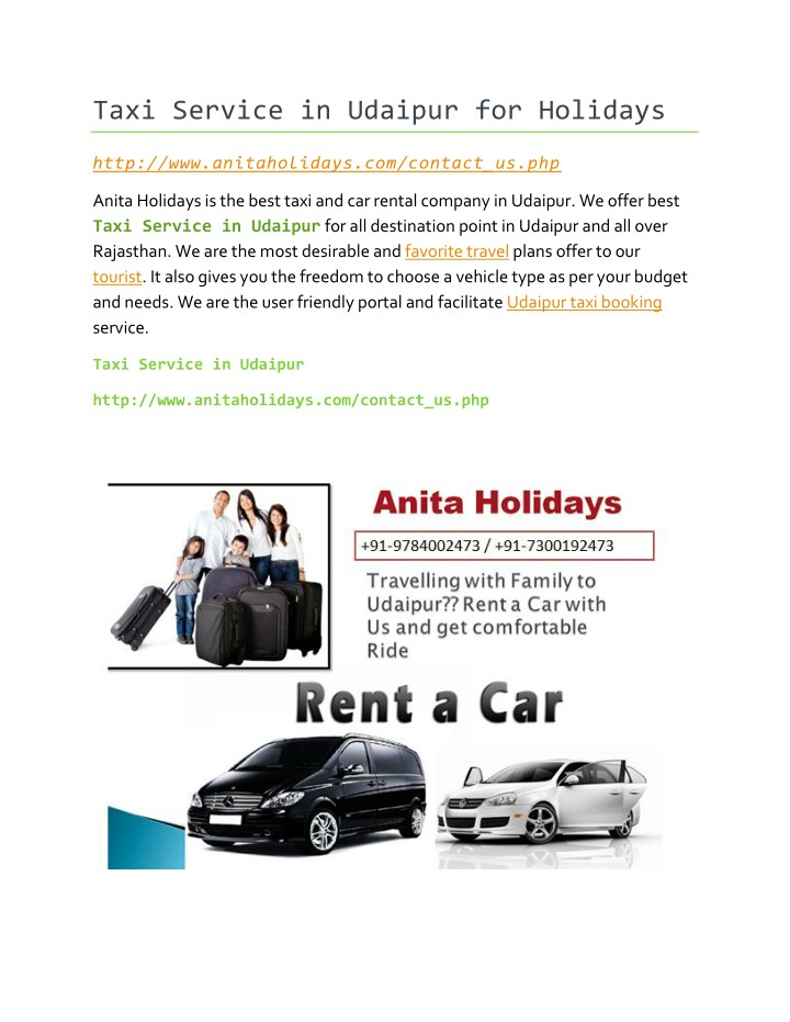taxi service in udaipur for holidays n.