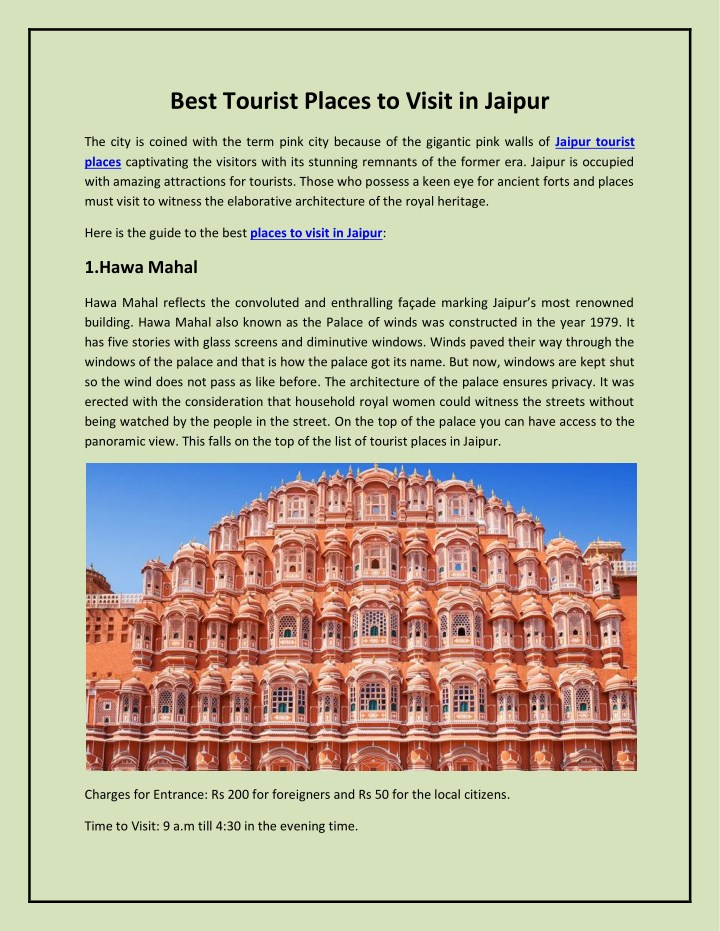 best tourist places to visit in jaipur n.
