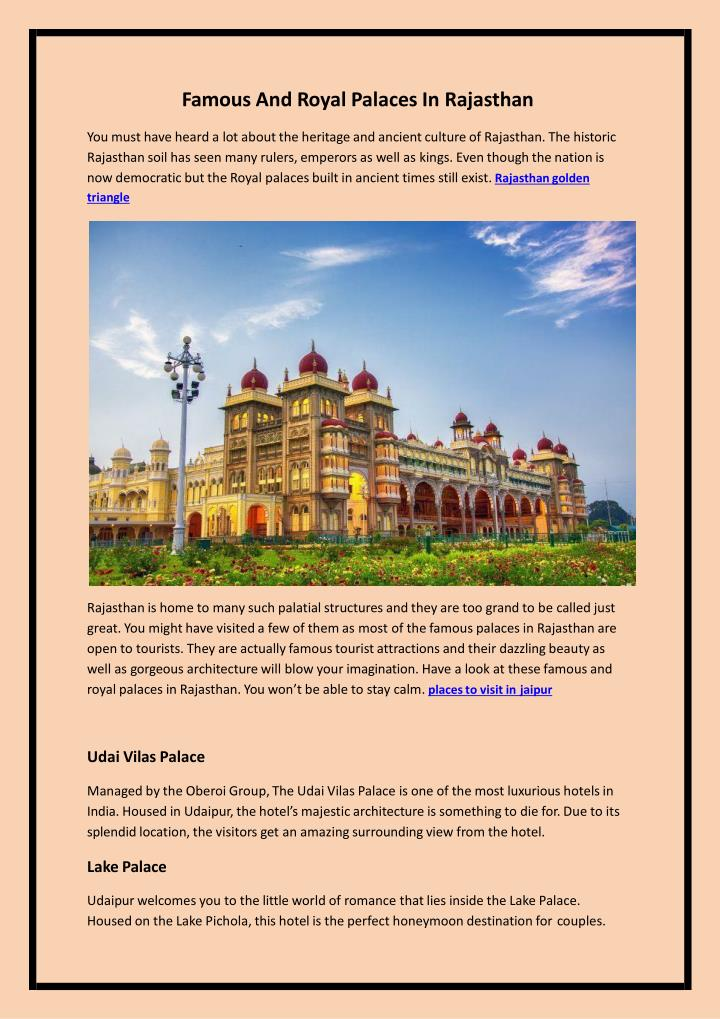 famous and royal palaces in rajasthan n.
