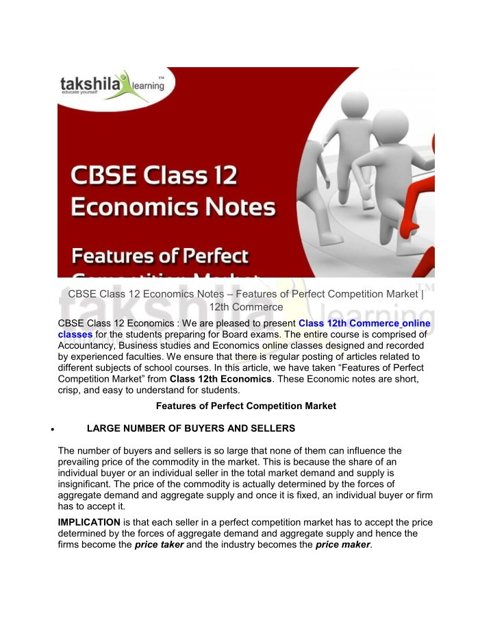 PPT - CBSE Class 12 Economics Notes - Features of Perfect