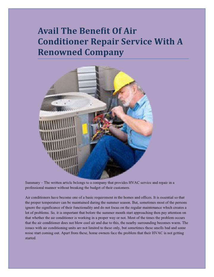 avail the benefit of air conditioner repair n.
