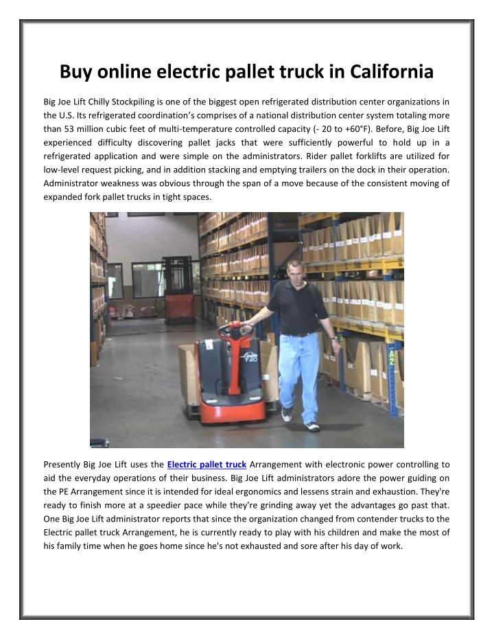 PPT Buy Online Electric Pallet Truck In California