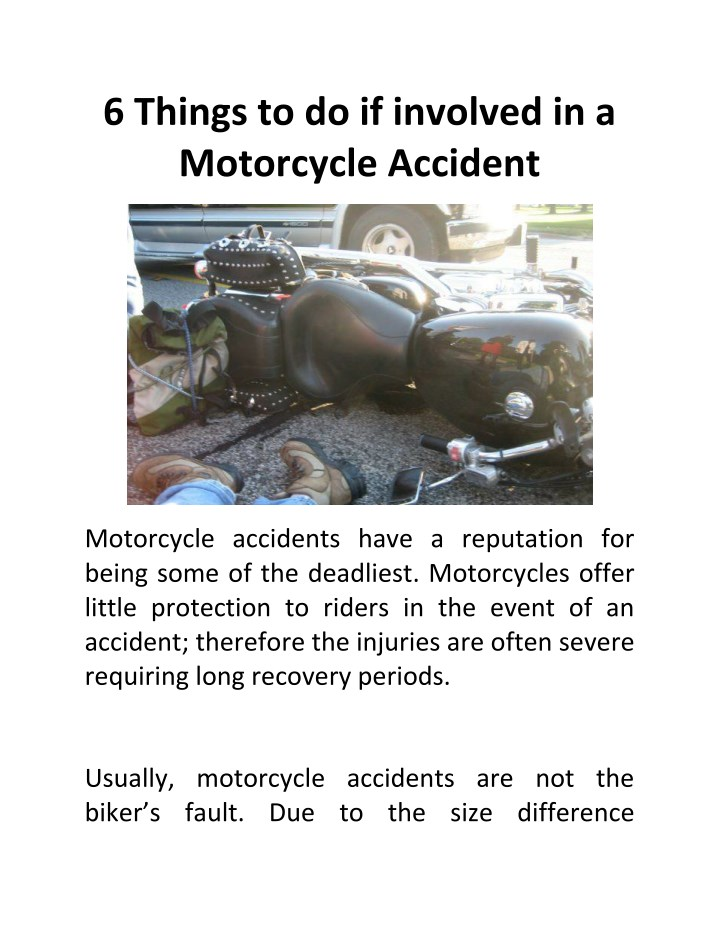 6 things to do if involved in a motorcycle n.