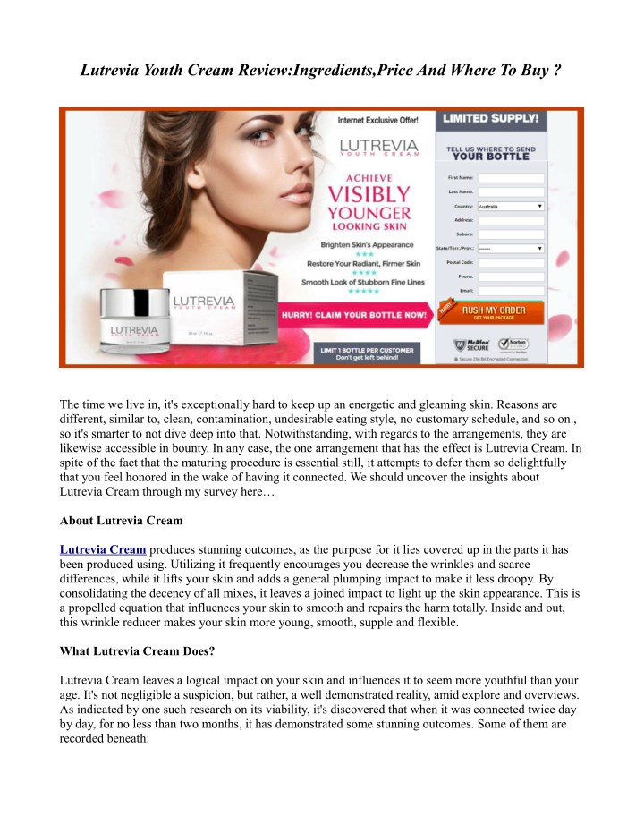 lutrevia youth cream review ingredients price n.