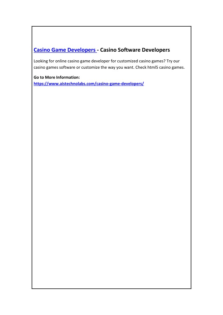 casino game developers casino software developers n.