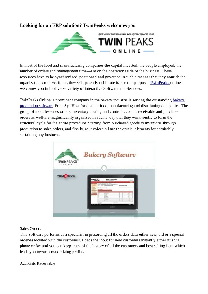 looking for an erp solution twinpeaks welcomes you n.