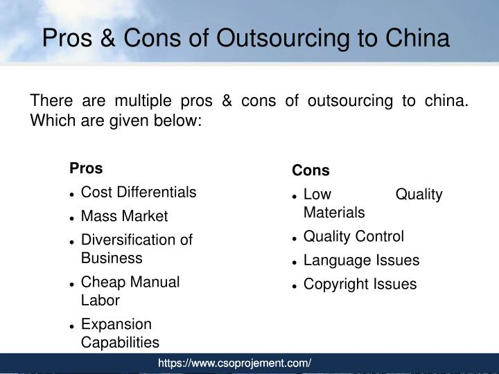 cons of apple outsourcing in china Outsourcing manufacturing pros and cons once, it was usual for companies selling a product to also design and manufacture that product however, with the rise of.
