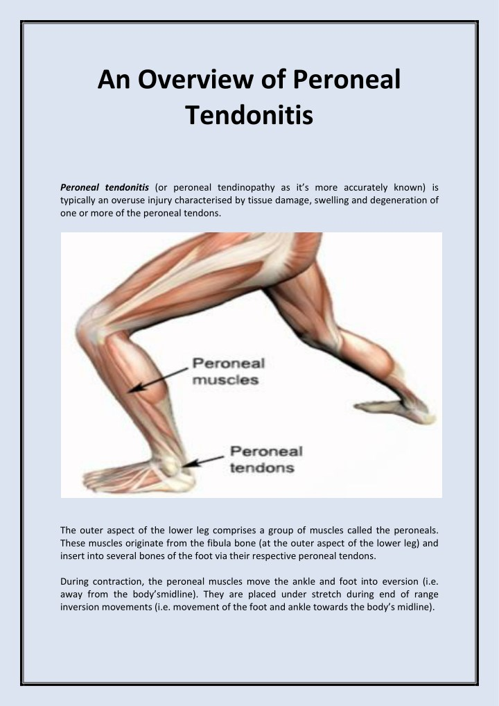 PPT - An Overview of Peroneal Tendonitis PowerPoint Presentation ...