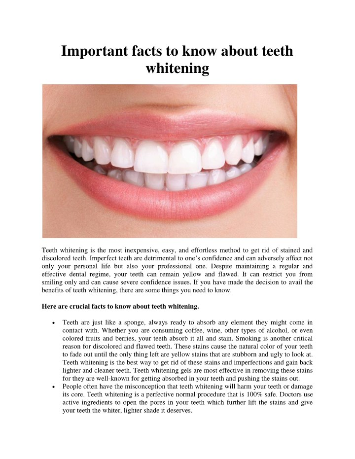 important facts to know about teeth whitening n.