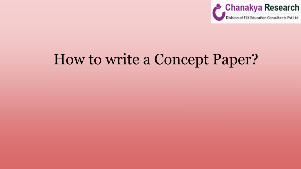 writing a concept paper for research