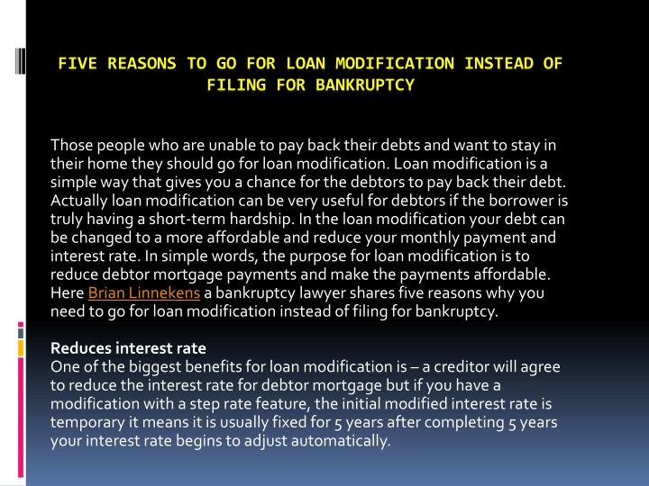 five reasons to go for loan modification instead of filing for bankruptcy n.