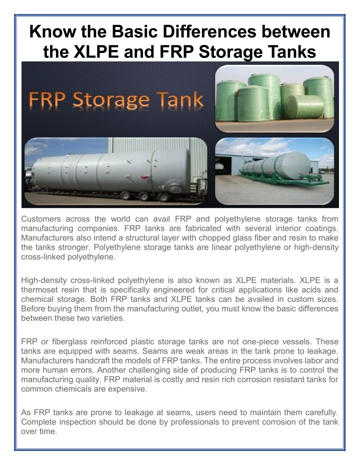 PPT - Know the Basic Differences between the XLPE and FRP Storage