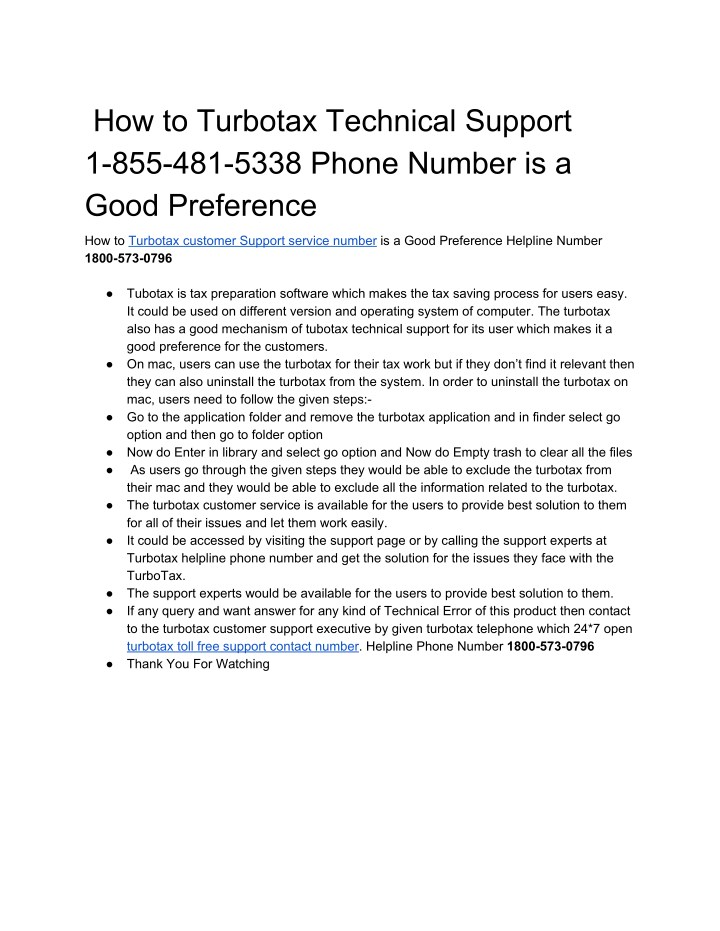 how to turbotax technical support 1 855 481 5338 n.