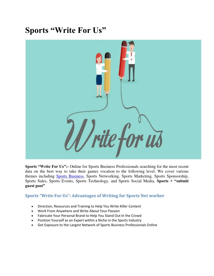 """PPT - Sports """"Write For Us"""" PowerPoint Presentation - ID:7755473"""