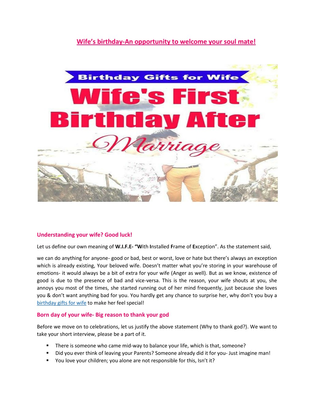ppt wife s birthday an opportunity to welcome your soul mate