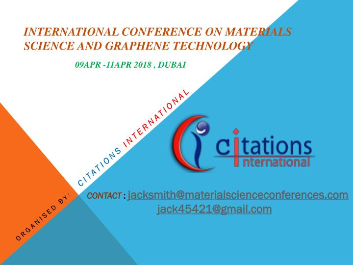 PPT - International Conference on Materials Science and