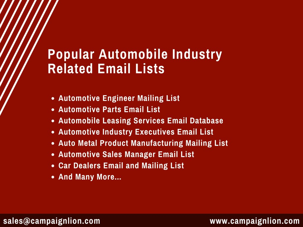 PPT - Automobile Industry Email Marketing List| Buy Automotive