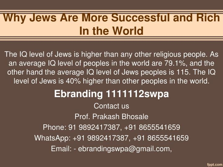 why jews are more successful and rich in the world n.
