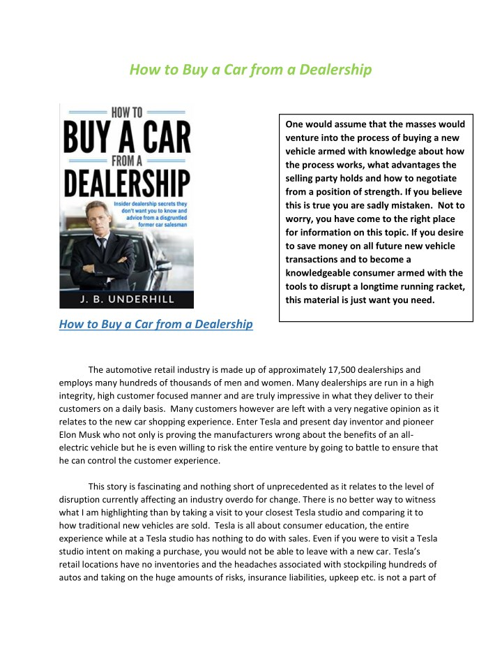 how to buy a car from a dealership n.