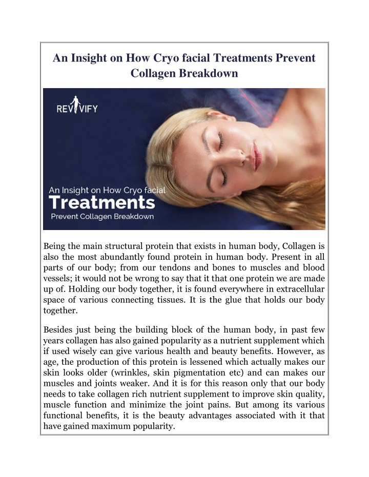 PPT - An Insight on How Cryo facial Treatments Prevent