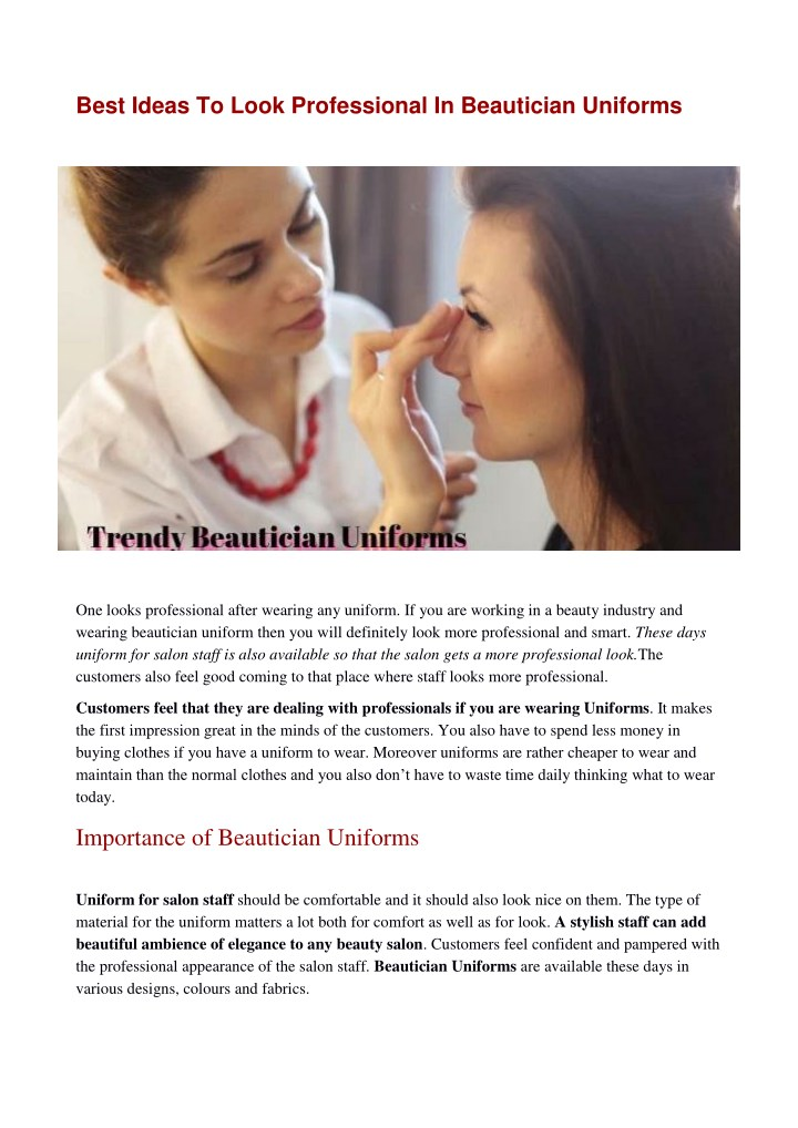 best ideas to look professional in beautician n.