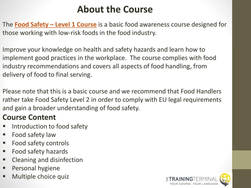 PPT - Courses Online | Food Safety - Health & Safety - Hospitality