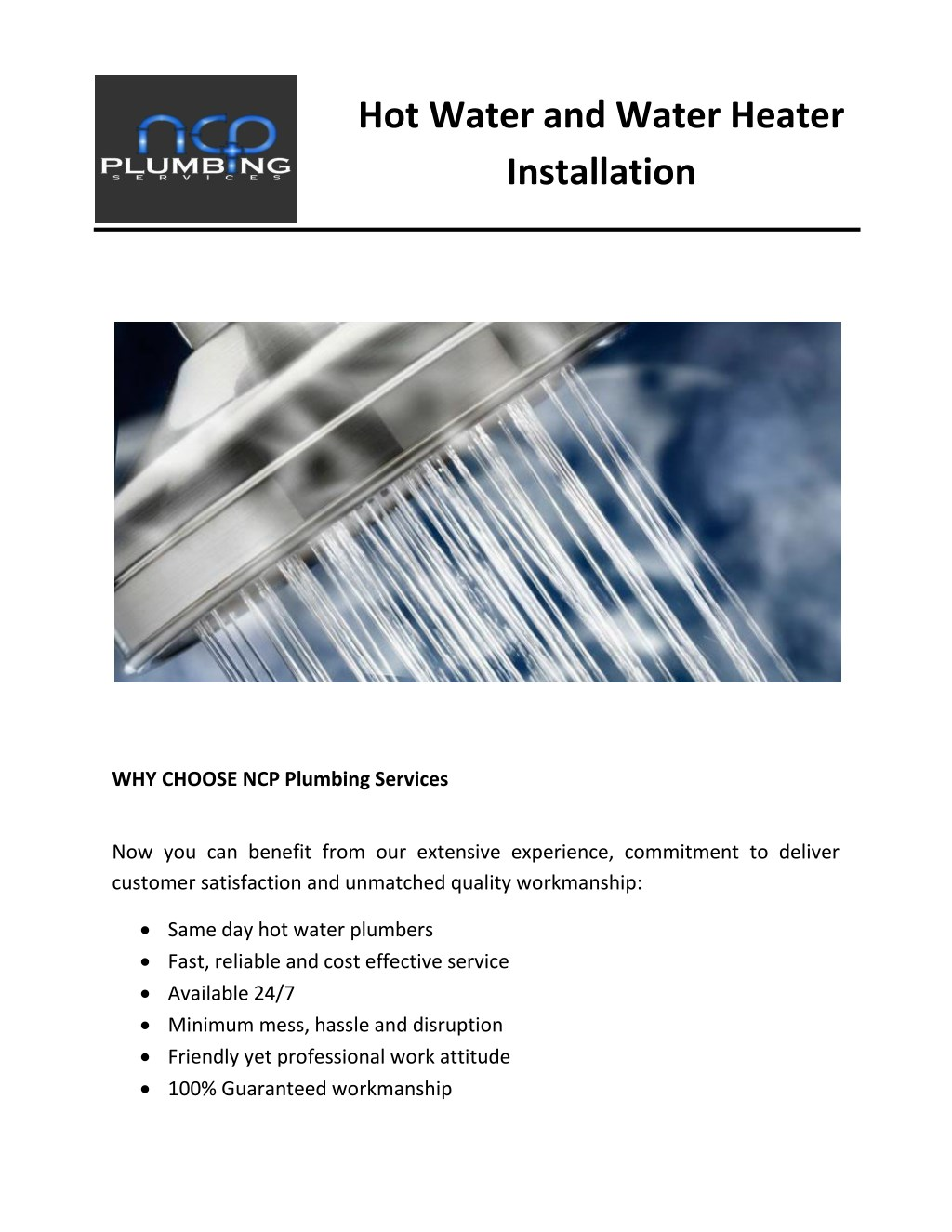 PPT - Hot Water and Water Heater Installation PowerPoint